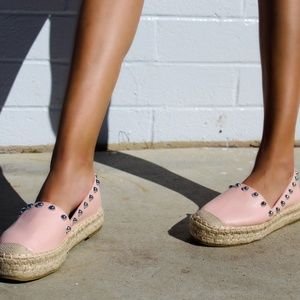 Shoes - 🆕//The Natalia// Pink Studded Espadrille Flat